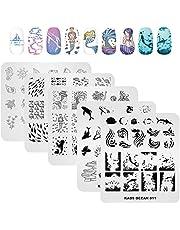 KADS Juego de 5 piezas de placas de sello de uñas arte estampado placa de uñas plantilla imagen placa océano serie