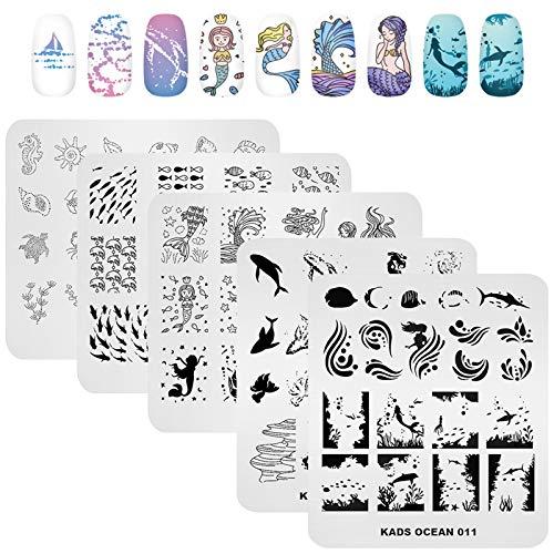 KADS 5Pcs Nail Stamp Plates set Nails Art Stamping Plate Set Nail plate Template Image Plate Ocean Series