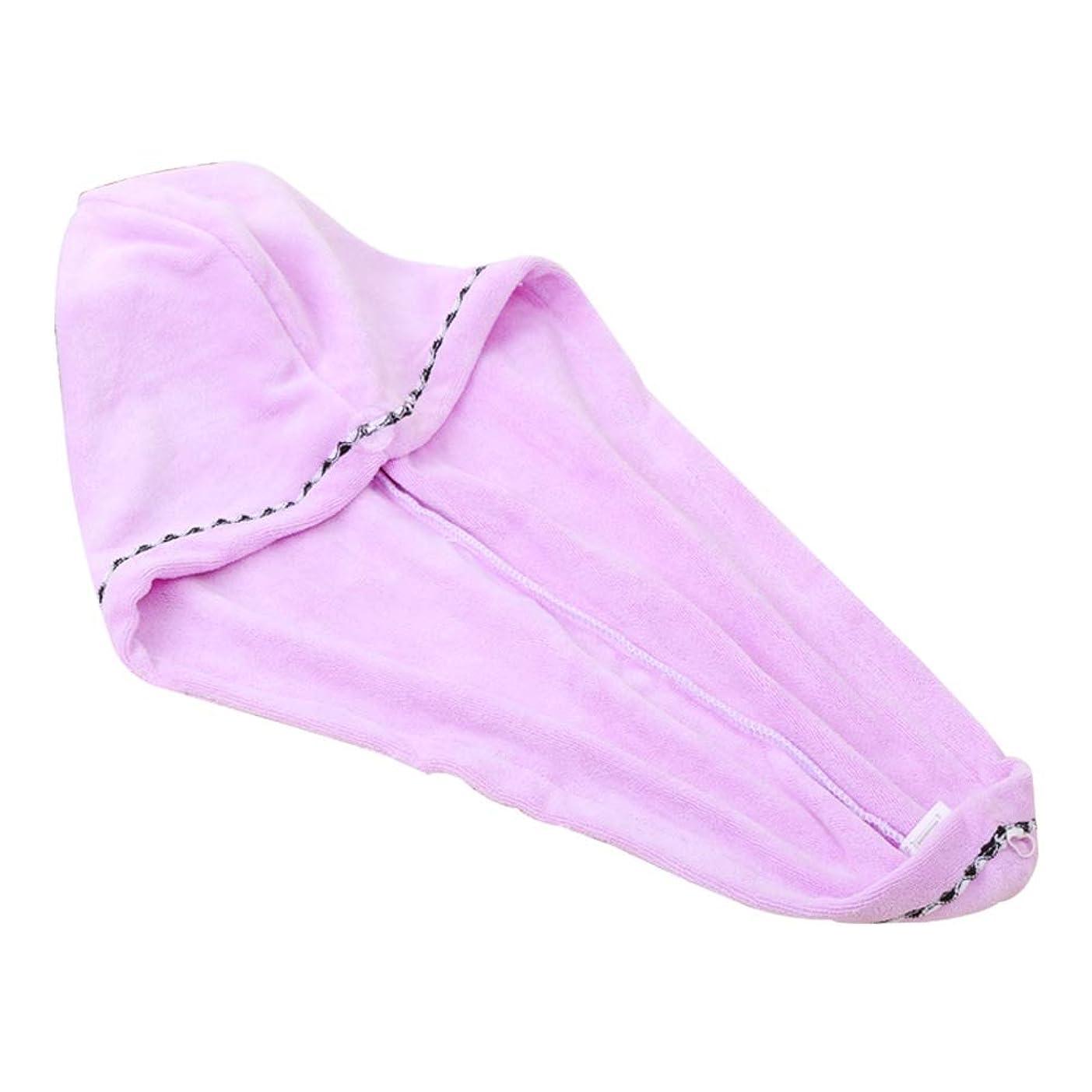 楽観的人工家事Yushulinfeng マイクロファイバードライヘアーキャップシャワーキャップ女性吸水速乾性タオルダブル肥厚フード付きのかわいいシャワーキャップドライ毛タオルシャワーキャップ (Color : Purple)