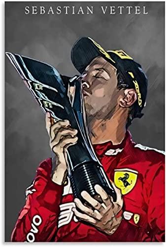 Puzzle 500 Piezas Adultos Niños Rompecabezas Sebastian Vettel, piloto de carreras campeón del mundo de F1 500 Piece 20.4x15inch(52x38cm) Sin Marco