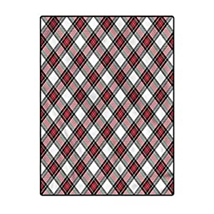 Tartan Rugs for Bedroom Girls for Kids Baby Room Bedroom Nursery Plaid Motif Rhombuses 6.5 x 9.8 Ft
