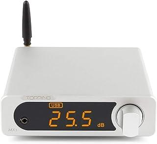 Topping MX3 Digital HiFi Amplifier USB/Optical/Coaxial/AUX Input DAC Headphone Amp 40W x 2 (Silver)