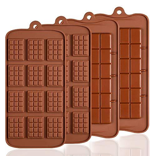 4 PCS Silikon Schokolade Formen, senhai 2 Arten von Break Apart Antihaftbeschichtung Candy Protein und Energie Bar Form Backblech …