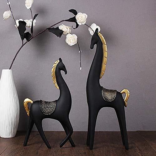 Sculpturen Beeldjes Creatieve Hars Zwart Paard Standbeeld Home Decor Ambachten Kamer Decoratie Objecten Gouden Manen Paard Hars Dier Beeldjes Geschenken
