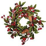 HUJUNG Corona de Navidad de 15 pulgadas para la puerta frontal de la puerta de la casa rural navideña, decoración con piñas rojas, color burdeos, tornillo A