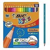 BIC Kids Evolution ECOlutions Crayons de Couleur - Coloris Assortis, Boîte Metal Format Spécial de 18