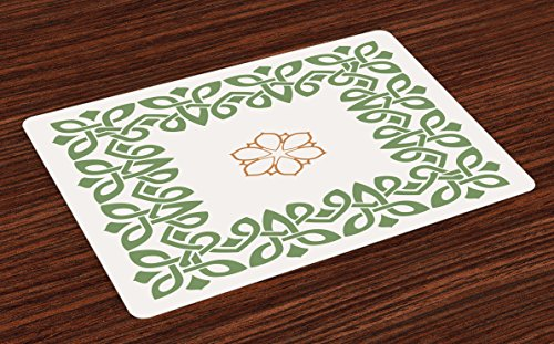 Lunarable Celtic Place Mats Set of 4, Nostalgic Celtic Art Inspired Square Shape Frame Print with a Flower in The Centre, Washable Fabric Placemats for Dining Room Kitchen Table Decor, Green Beige