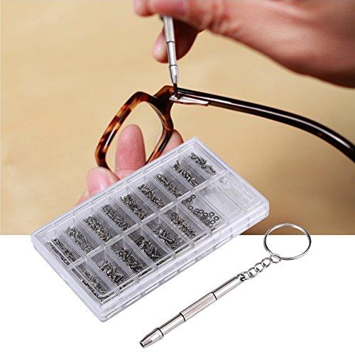 1000stk. Brillenschrauben Sortiment Brillenreparatur-Werkzeugset - Nasenbrillenpinzetten-Set - mit Schraubendreherpinzette