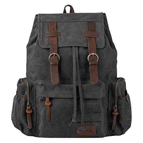 P.KU.VDSL Vintage Canvas Backpack, Genuine Leather Military Rucksack, 17 inch Retro Laptop Backpack for School Travel Hiking (N-Grey - Large Size)