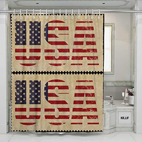 "KR.LIF Retro American Patriotic Stamps Waterproof Shower Curtains for Bathroom Country Our Logo Polyester Fabric Bath Curtains(72""x 72"")"