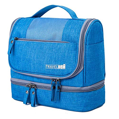 Weisin Large Capacity Travel Makeup Organiser Bag Cosmetic Storage Toiletry Bag for Women,Blue