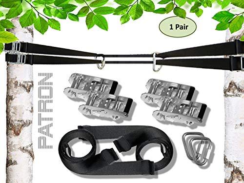 PATRON® BETWEEN SECURITY mit Sicherheitsfunktion - HighTec Spanngurt zwischen Bäumen auch für Hängematten und Schaukeln, Spannlast 2000 kg, mit 2 Premium Delta Karabinern, PAT Bandlänge:10m