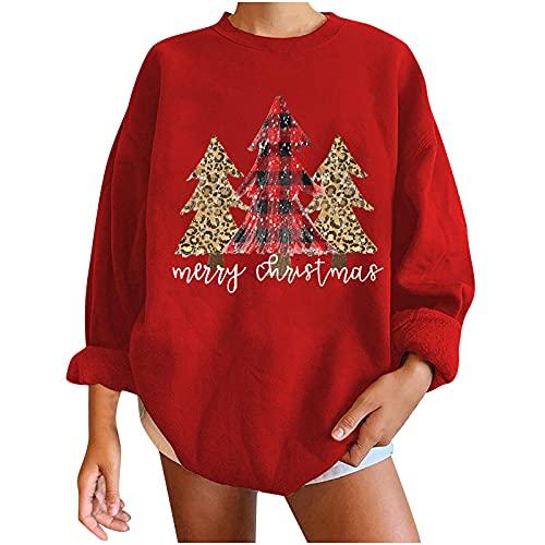 AOCRD Jersey de Navidad para mujer con estampado de árbol de Navidad de gran tamaño, holgado, otoño,...
