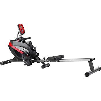 SportPlus - Rameur Pliable, Système de freinage magnétique, 8 niveaux de résistance, Silencieux, Siège avec roulement à billes, Ordinateur d'entraînement, Poids max de l'utilisateur 150 kg