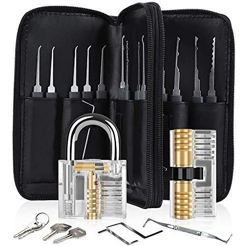 Lockpicking Set, Diyife® 33-Teiliges Dietrich Set mit 2 transparenten Trainingsschlössern für das Lockpicking, Anleitung für Anfänger- und Profis Schlosser