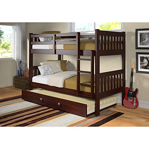 Donco Kids Twin Over Twin Mission Bunk Bed in Dark Cappuccino with Optional Twin Trundle or Storage Drawers Twin Over Twin Bunk Bed with Twin Trundle