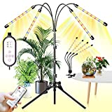 YASBED Lámpara LED para plantas 4 cabezales luz para plantas, con soporte, espectro completo,...
