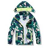 IjnUhb Boys Jacket with Hood, Camo Raincoat for Kids, Waterproof Baby Windbreaker Casual Outerwear(greencamo 5T)