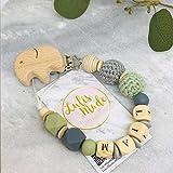 Schnullerkette mit Namen für Junge und Mädchen - personalisierte Baby Geschenke zur Geburt oder Taufe (F29824)