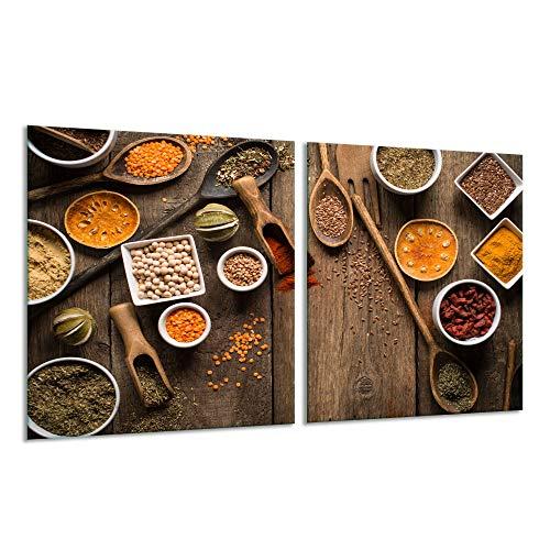 Fornuis afdekplaat Ceranfeld 2-delig 2x40x52 kruiden bont kookplaten inductie
