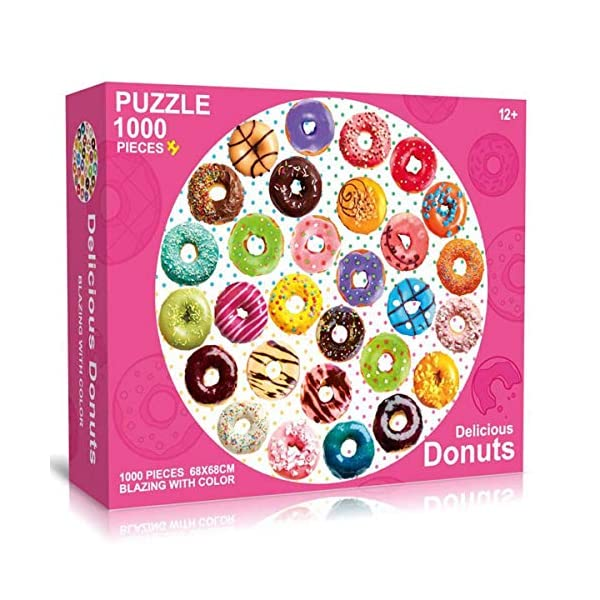 Anditoy Puzzles for Adults Large 1000 Pieces Round Jigsaw Puzzles – Delicious Donuts – for Adults Teens Educational Toys Gifts (27 x 27 Inches)