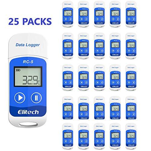 Elitech RC-5 Mini USB Enregistreur de données de température, Haute Précision Capteur, 32000 points de Capacité d'enregistrement (25PCS)