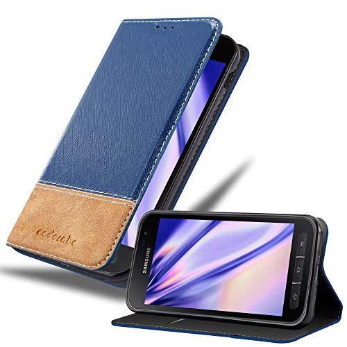 Cadorabo Hülle für Samsung Galaxy XCOVER 4 - Hülle in BLAU BRAUN – Handyhülle mit Standfunktion & Kartenfach aus Einer Kunstlederkombi - Hülle Cover Schutzhülle Etui Tasche Book