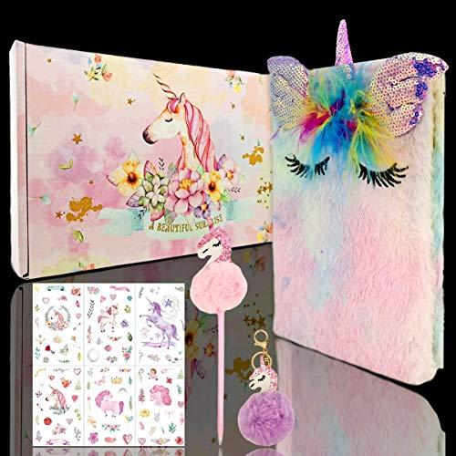 Plüsch Unicorn Journal Notizbuch,Mädchen Pailletten Regenbogen Einhorn Notizbuch,Regenbogen Einhorn Briefpapier Set A5, Meerjungfrau,Pailletten-Tagebuch,Tagebuch für Kinder, Mädchen