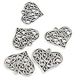 320 PCS Antique Silver Plated Jewelry Making Charms Supplies Crafting I1RK3V Hollow Heart Signs