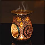 SHMILMH Mosaic Glass Oil Burner, Aromatherapy EssentialOil Diffuser, Tealight Candle Holder, Wax Warmer for Scented Wax, Tealight, Melt Holder for Gifts Cafe Bar Home Table Decoration, Orange, 5.5'H