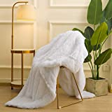 Maxsoft Fluffy Sherpa Blanket for Girls/Boys, 50'x60', Luxury Fuzzy Throw for Sofa, Couch, Bed, Decorative Shag Faux Fur Fleece Blanket for Bedroom(White)