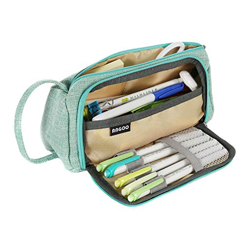 Pencil Case Large Capacity Pen Pouch, Pencil Bag Simple Stationery Holder Marker Pen Case School Supplies for Middle High School College, Gift for Adult Teens Student- Green
