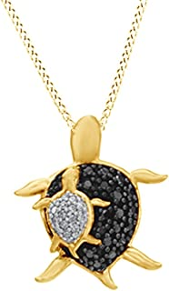 White & Black Natural Diamond Turtle Pendant Necklace in 14k Gold Over Sterling Silver (0.17 Ct)