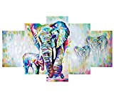 5 Pieces Colorful Elephant Modern Abstract Art Painting on Canvas Prints Pictures Wall Art Home Living Room Bedroom Hotel Club Decor (Unframed)