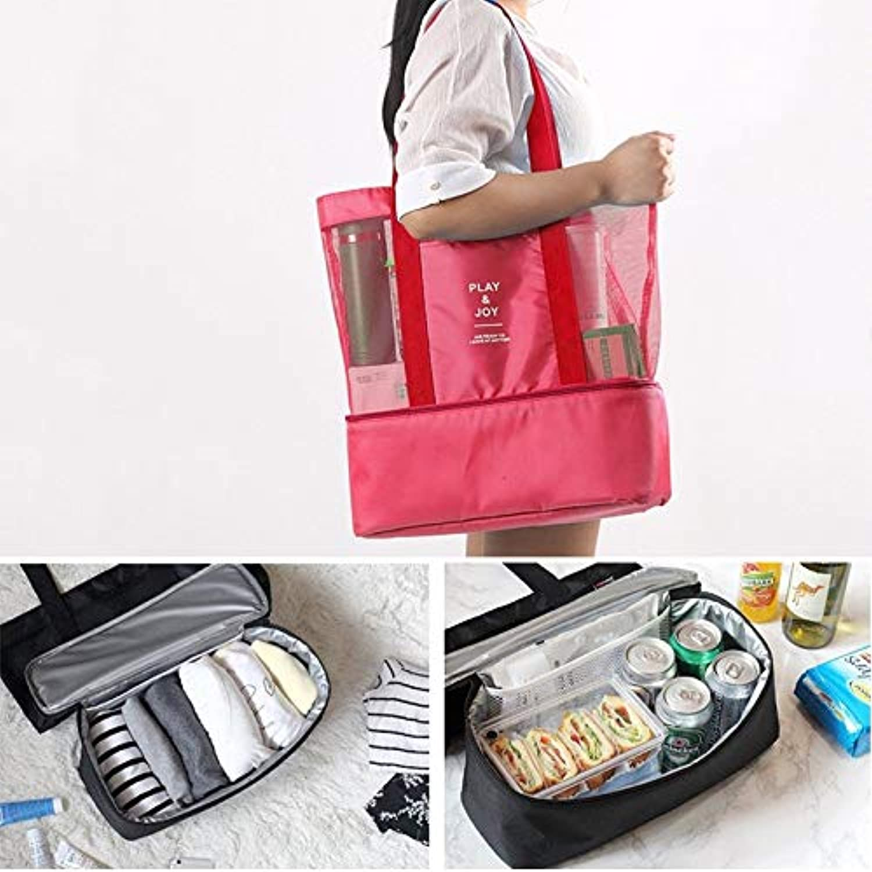 Morden Storage Bag Portable Double Layer Mesh Sport Duffel Beach Picnic Shoulder Handbag Gift