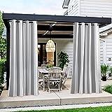 WYYUE Juego de 2 cortinas de exterior, resistentes al agua con ojales, cortina exterior resistente a la intemperie, protección UV, opacas para terraza,solar, visual para jardín, patio o balcón