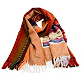 ONIPU Scarves Fashion and Warm Winter Scarf Long Shawl Lattice Large Scarf Plaid Blanket for Women and Men (brown-orange)
