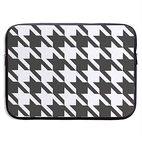 Laptop Sleeve Case Houndstooth Black Notebook Bag Laptop Shoulder Bag Protective 15 Inch