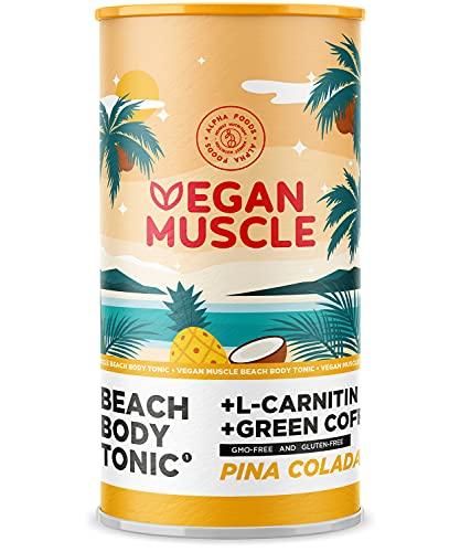 Vegan Muscle® - Beach Body Tonic - Veganer Stoffwechsel Booster / Slim Shake mit Protein und Carnitin - Piña Colada - 600g Pulver