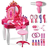 Play22 Pretend Play Girls Vanity Set with Mirror and Stool 20 PCS - Kids Makeup Vanity Table Set with Lights and Sounds - Kids Beauty Salon Set Includes Fashion Hair & Makeup Accessories & Blowdryer