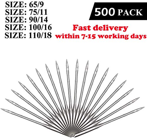 Lowest Prices! Sewing Machine Needles, 50 Count, Universal Regular Point for Singer, Brother, Janome, Varmax, Sizes 65/9, 75/11, 90/14, 100/16, 110/18 (50pcs) (500pcs)
