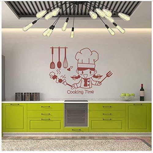 Schöne Mädchen Kocher Cartoon Wanddekoration Kochzeit Vinyl Wandaufkleber Für Küchenfliesen Wohnkultur Kunst Poster Haus Dekoration 55 * 74Cm
