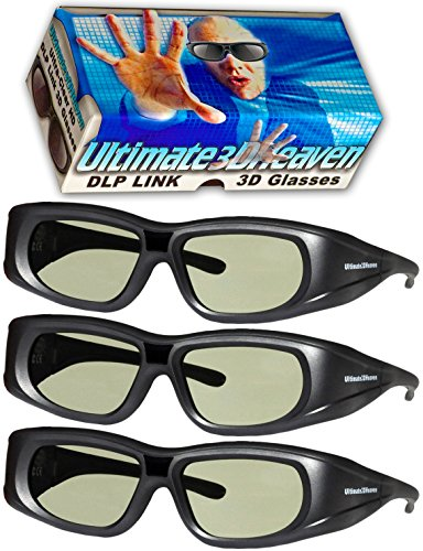 DLP LINK 144 Hz 3 PACK Ultra-Clear HD 3D Active Rechargeable Shutter Glasses for All 3D DLP Projectors - Optoma, Dell, Mitsubishi, Samsung, Acer, BenQ, Vivitek, NEC, Sharp, ViewSonic & Endless Others!