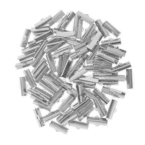 P Prettyia 100 pcs Crimpzange Kordel Metall Crimp Ende Schmuck DIY Basteln Set Bandklemme - 20mm Dumpfer Splitter