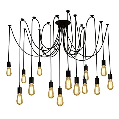Fuloon Vintage Edison Multiple Ajustable DIY Ceiling Spider Lamp Light Pendant Lighting Chandelier Modern Chic Industrial Dining with Romote Control (14 Head Cable 200cm/78.7inch Each)