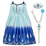 IBAKOM Disfraz de princesa de hada y reina para niña, disfraz de cosplay, manga corta/manga larga, vestido para boda, cumpleaños, fiesta, vestido Azul (Manga Larga) 2 11-12 Años