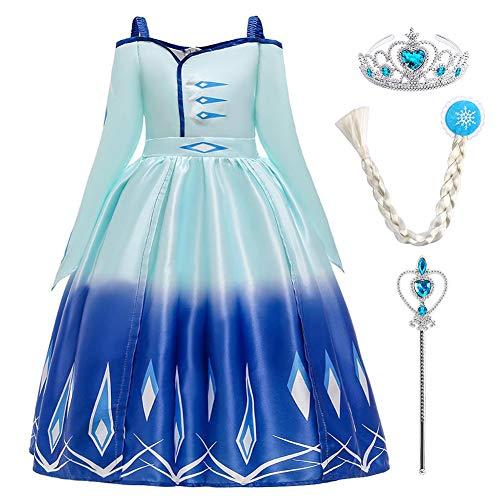 Vestido de Elsa, Reina de Nieve Disfraz de Elsa con Accesorios Largo Vestido de Princesa para Halloween Costume Cumpleaos Carnaval Fiesta Navidad Partido Disfraces Ceremonia Ropa Azul 11-12 Aos