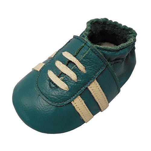 YiHAKIDS Baby-Schuhe aus weichem Leder für Tennisschuhe Sportschuhe Babyschuhe aus weichem Leder, - dunkelgrün - Größe: 24/25 EU
