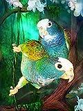 Cuadro de diamante cuadrado completo, arte de diamantes de imitación de loro, bordado de diamantes 5D, pájaro, Animal, punto de cruz, flor, decoración del hogar, A1 40x50cm