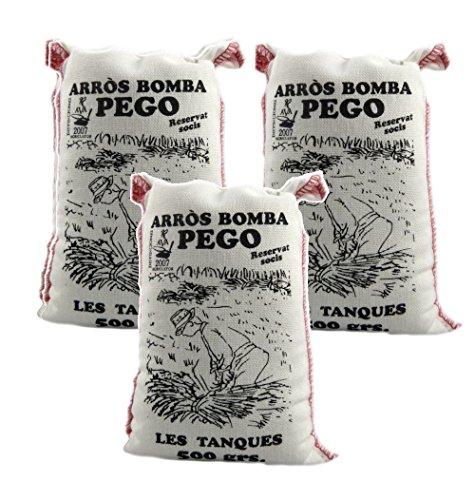 Bomba Reis aus Spanien 3 x 500 g - Premium Rundkornreis - für Paella, Risotto.... - Anbau im geschützten Naturpark Marjal - von Pego Natura, Größe:500 g